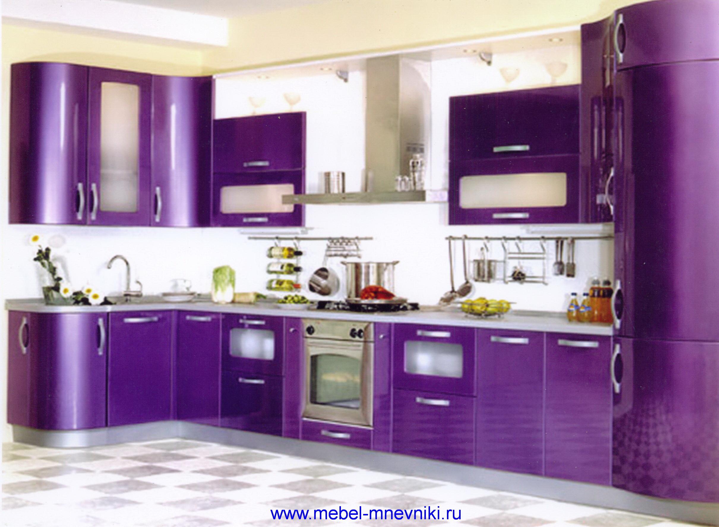 Сиреневый дизайн кухни фото